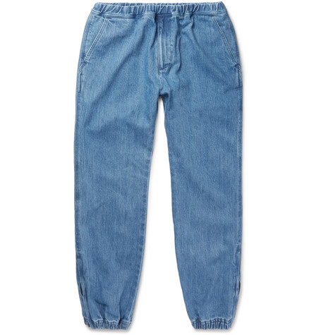 Tapered Denim Drawstring Trousers - Indigo