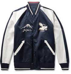 Beams Reversible Appliquéd Embroidered Satin Bomber Jacket