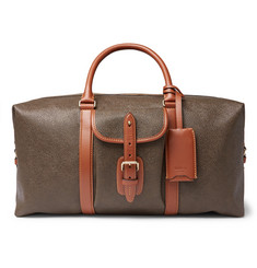 Mulberry Heritage Leather-Trimmed Pebble-Grain Coated-Canvas Holdall