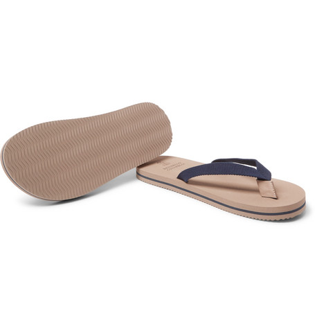 Cotton-canvas Flip Flops - NavyBrunello Cucinelli