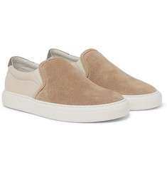 Brunello Cucinelli - Suede and Canvas Slip-On Sneakers
