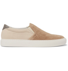 Brunello Cucinelli Suede and Canvas Slip-On Sneakers