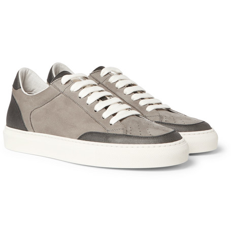 Apollo Nubuck And Grained-leather Sneakers - Gray