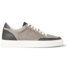 Brunello Cucinelli Nubuck and Grained-Leather Sneakers