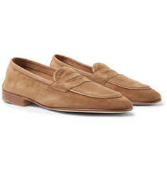 Edward Green - Polperro Nubuck-Trimmed Suede Penny Loafers