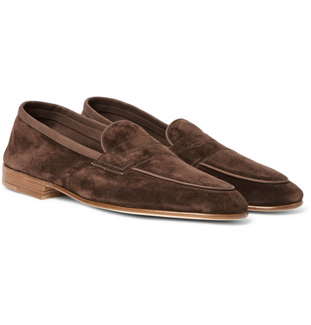 EDWARD GREEN Polperro Nubuck-Trimmed Suede Penny Loafers - Chocolate