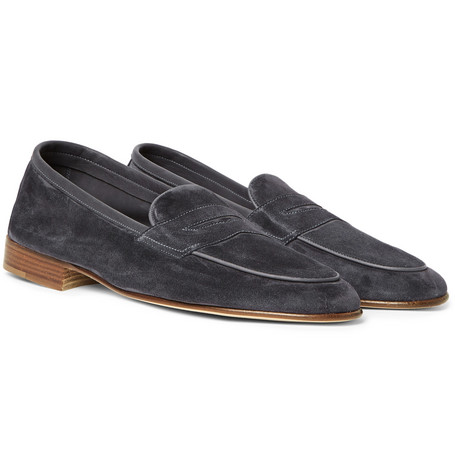 f8206540875 Edward Green Polperro Nubuck-Trimmed Suede Penny Loafers - Dark Gray