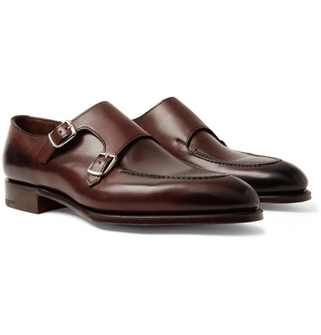 EDWARD GREEN Fulham Leather Monk-Strap Shoes - Dark Brown