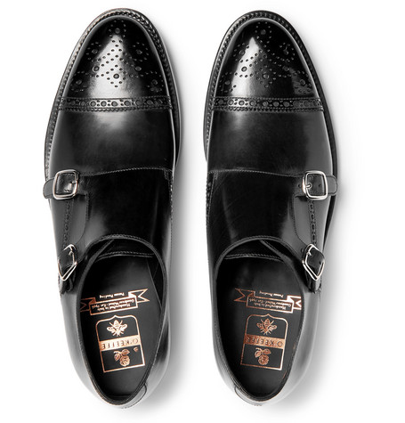 Bristol Polished Leather Monk Strap Shoes by O'keeffe