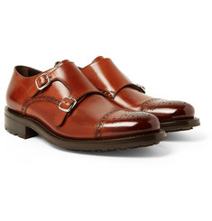 O'Keeffe - Bristol Burnished-Leather Monk-Strap Brogues