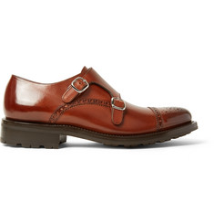 O'Keeffe Bristol Burnished-Leather Monk-Strap Brogues