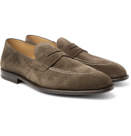 O'keeffe Samuel Collapsible-heel Suede Penny Loafers In Green