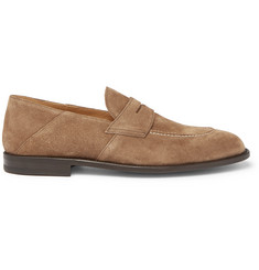 O'Keeffe Samuel Collapsible-Heel Suede Penny Loafers