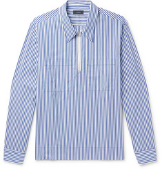 Joseph Gilroy Striped Cotton-Poplin Zip-Up Half-Placket Shirt