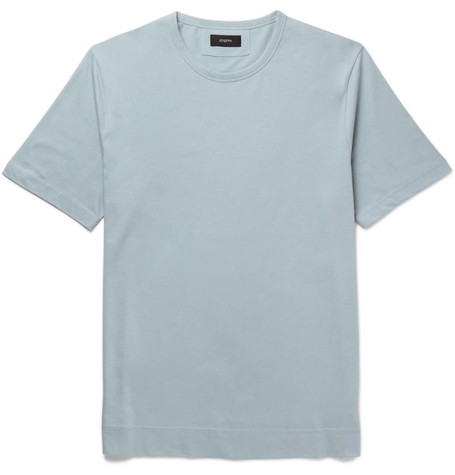 Mercerised Cotton-jersey T-shirt - Sky blue