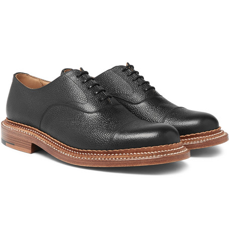 Rupert Triple-welted Cap-toe Pebble-grain Leather Oxford Shoes - Black