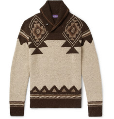 Ralph Lauren Purple Label - Slim-Fit Shawl-Collar Intarsia Silk and Cashmere-Blend Sweater