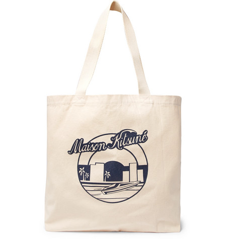 ce3934d65 Maison KitsunÉ Printed Cotton-Canvas Tote Bag In Cream | ModeSens
