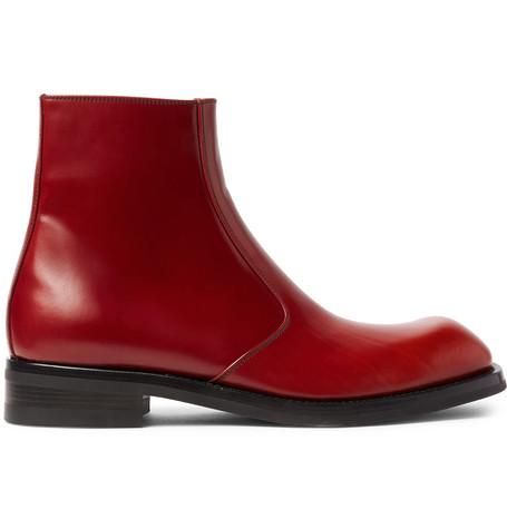 cb772bfa5ea Dries Van Noten Polished-Leather Boots - Claret