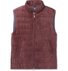 Brunello Cucinelli Slim-Fit Quilted Suede Down Gilet