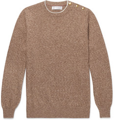 Brunello Cucinelli Button-Trimmed Mélange Cotton Sweater