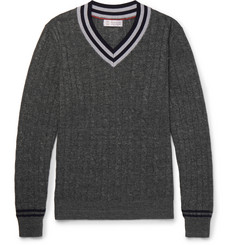 Brunello Cucinelli Slim-Fit Cable-Knit Linen and Cotton-Blend Sweater