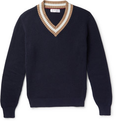 Brunello Cucinelli Stripe-Trimmed Ribbed Cotton Sweater