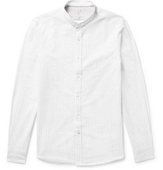 Brunello Cucinelli Slim-Fit Grandad-Collar Pinstriped Slub Cotton-Blend Shirt