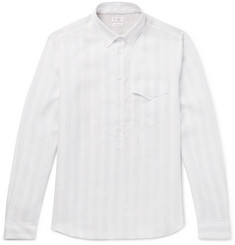 Brunello Cucinelli Button-Down Collar Striped Linen Shirt