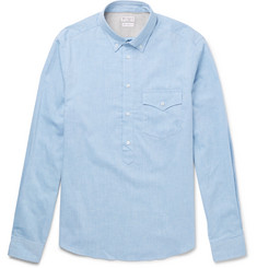 Brunello Cucinelli Button-Down Collar Cotton Half-Placket Shirt