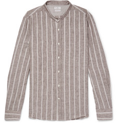 Brunello Cucinelli - Grandad-Collar Striped Linen and Cotton-Blend Shirt