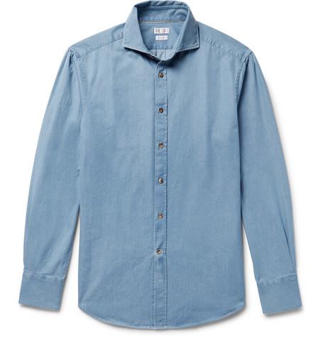 Brunello Cucinelli - Slim-Fit Cutaway-Collar Washed-Denim Shirt - Mid denim