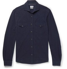 Brunello Cucinelli Cutaway-Collar Cotton-Piqué Shirt