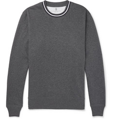 Brunello Cucinelli Stripe-Trimmed Loopback Cotton-Jersey Sweatshirt