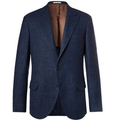 Brunello Cucinelli Blue Prince of Wales Checked Wool, Linen and Silk-Blend Suit Jacket