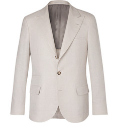 Brunello Cucinelli Cream Slim-Fit Linen, Wool and Silk-Blend Suit Jacket