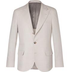 Brunello Cucinelli Cream Slim-Fit Linen, Wool and Silk-Blend Suit Jacket