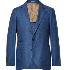Brunello Cucinelli Blue Slim-Fit Linen Blazer