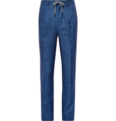 Brunello Cucinelli Blue Linen Drawstring Suit Trousers