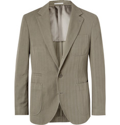 Brunello Cucinelli Slim-Fit Herringbone Cotton and Linen-Blend Suit Jacket