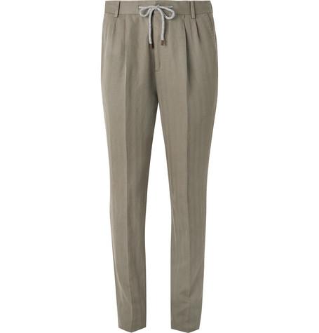 de mezcla y traje Brunello Cucinelliolive algodón Pantalón de espiga lino  de de ATqZg6 de3286fa0d1