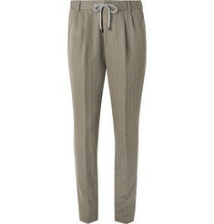 Brunello Cucinelli Olive Herringbone Cotton and Linen-Blend Suit Trousers