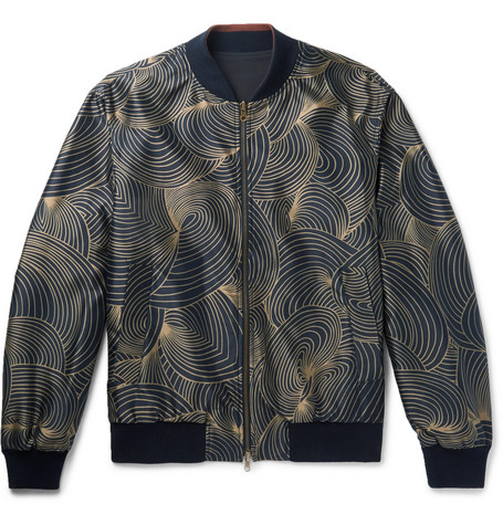 Reversible Shell And Printed Twill Bomber Jacket by Dries Van Noten