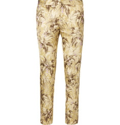 Dries Van Noten Patrini Slim-Fit Cropped Printed Satin Trousers