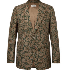 Dries Van Noten Green Floral-Print Cotton-Blend Faille Blazer