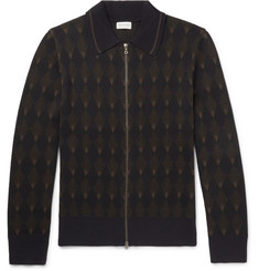 Dries Van Noten Intarsia Merino Wool and Cotton-Blend Zip-Up Sweater