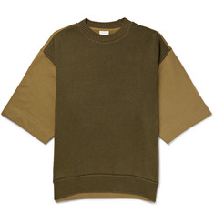 Dries Van Noten Oversized Panelled Knitted and Loopback Cotton-Jersey T-Shirt
