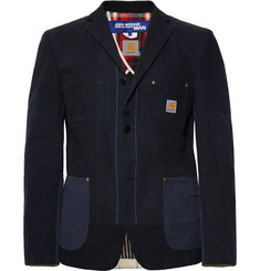 Junya Watanabe + Carhartt Midnight-Blue Slim-Fit Patchwork Cotton-Canvas Blazer