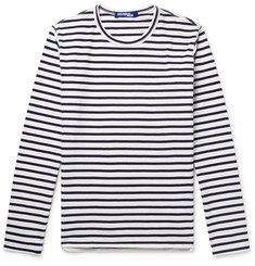 Junya Watanabe Grosgrain-Trimmed Striped Cotton-Jersey T-Shirt