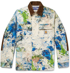 Junya Watanabe + Carhartt Corduroy-Trimmed Paint-Splattered Cotton-Canvas Jacket